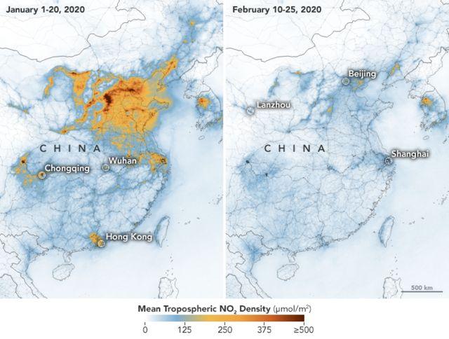 Une carte publiée par la Nasa montre comment les niveaux de pollution de l'air ont diminué en Chine cette année