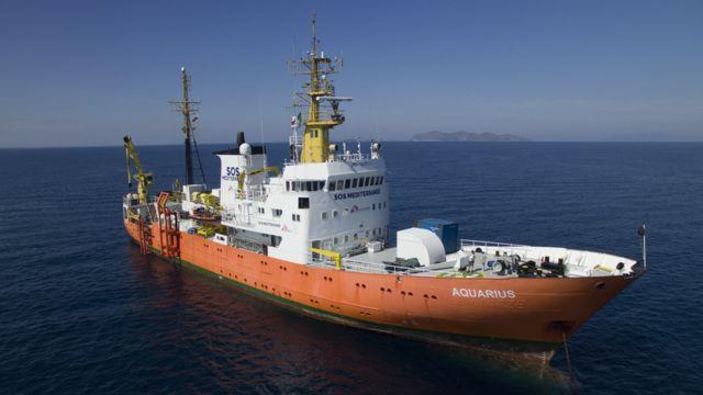The M.V. Aquarius at sea