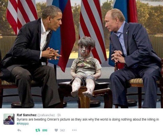 Twitter mostrando imagem de Omran entre os presidentes dos EUA, Barack Obama, e Rússia, Vladimir Putin