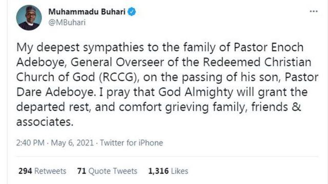 Buhari condole Pastor Adeboye