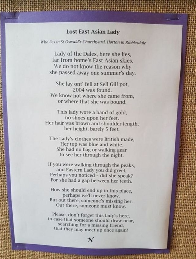 A poem by an unknown author surfaced after the woman's death