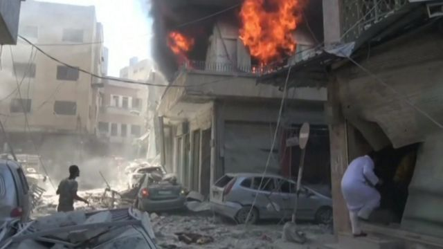 Aftermath of blast in Idlib