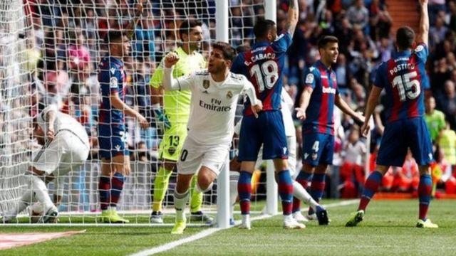 Marco Asensio lokacin da ya ci bal din da aka hana saboda satar gida