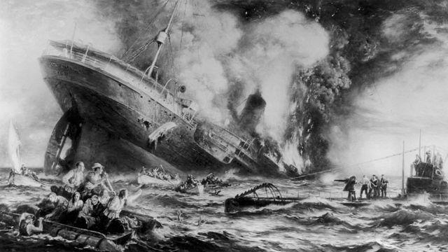 Ilustración del hundimiento del RMS Lusitania