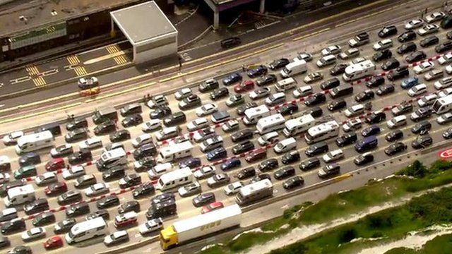 Aerial view of traffic queuing in Kent