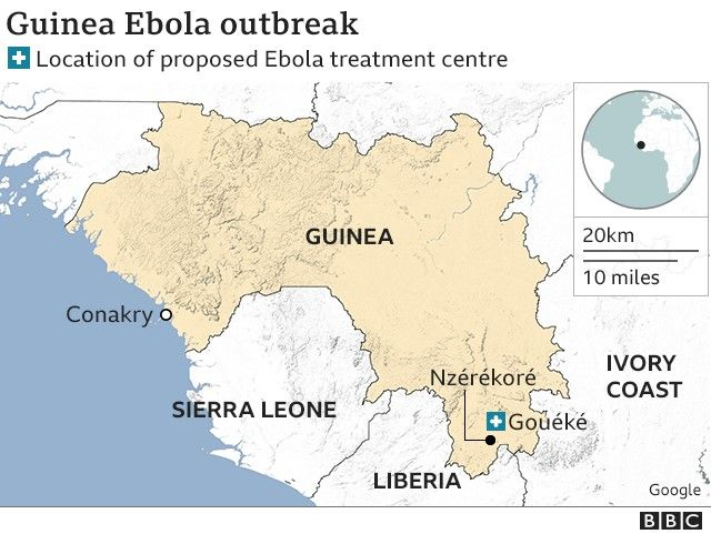 Map showing proposed Ebola treatment centre in Guinea