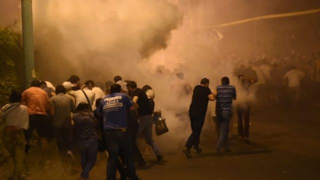 Protesters and police clash in Yerevan, Armenia