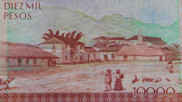 Una imagen de Guaduas en el reverso del billete de 10.000 pesos.