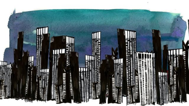 Illustration depicting a skyline of Sao Paulo