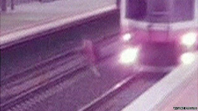 CCTV of man narrowly missed by train