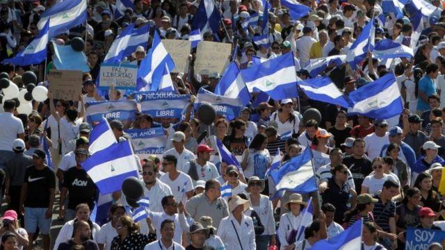Marcha de empresarios en Managua.