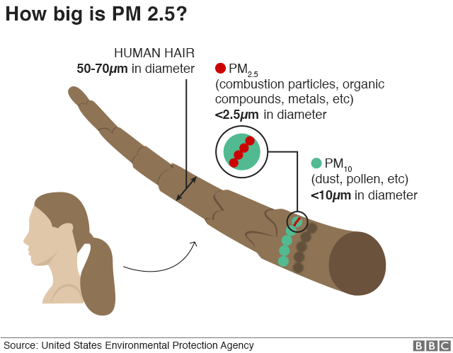 Graphic illustrating size of PM2.5 particles