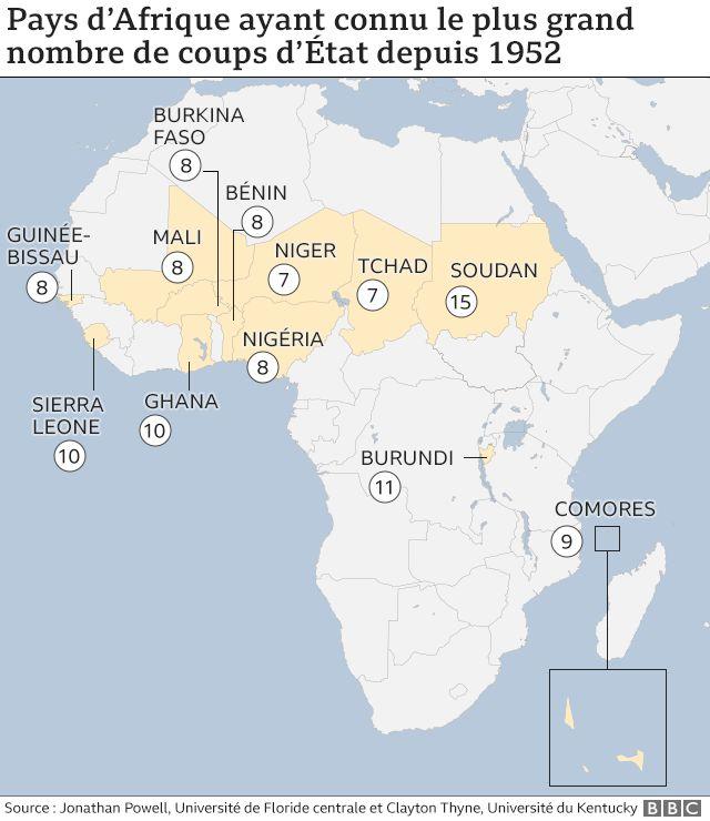 Carte de l'Afrique avec les coups d'État par pays (mai 2021)