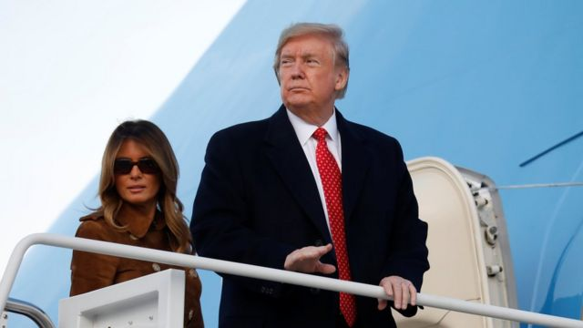 Donald and Melania Trump boarding Air Force One on 26 November