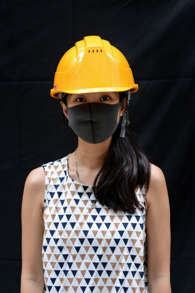A protester poses for a portrait during the Anti-Totalitarianism march in Causeway Bay, Hong Kong, 29 September 2019