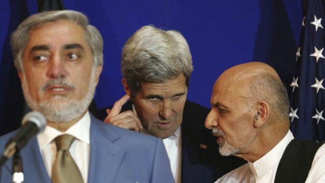 مؤتمر صحفي لغني وعبد الله بحضور وزير الخارجية الأمريكي جون كيري عام 2014