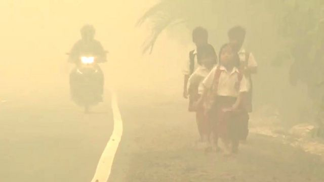 Children walking in haze
