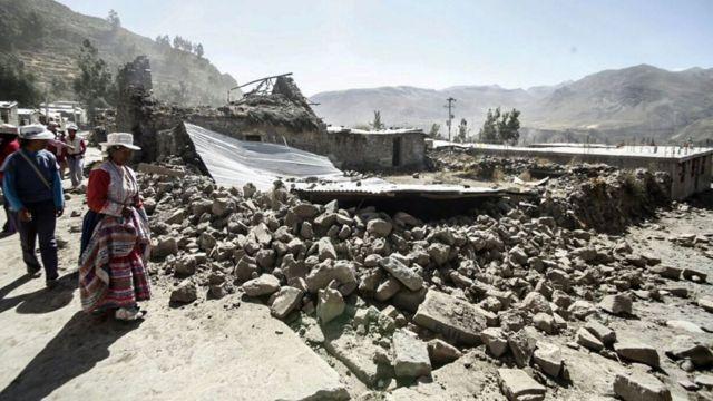 Casa destruida por el sismo en Chivay