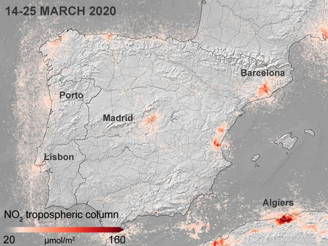 The big Spanish centres show a marked reduction in NO2