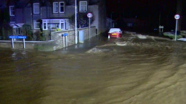 Flooded streets in Inverurie