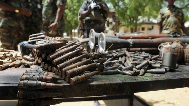 Weapons and ammunition wey wey Army seize for Borno State, Nigeria