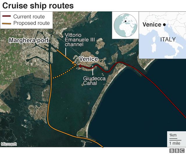 Venice cruise ship routes graphic