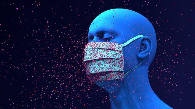 Ilustração de um homem usando uma máscara cercada por sprays