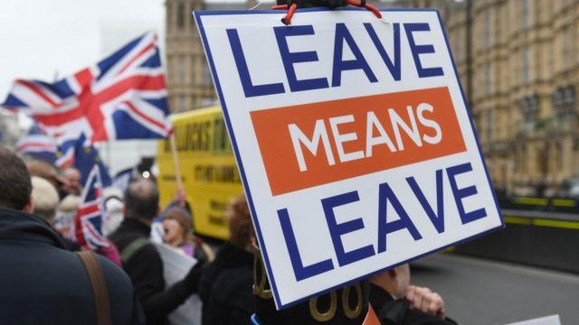 Letrero a favor del Brexit