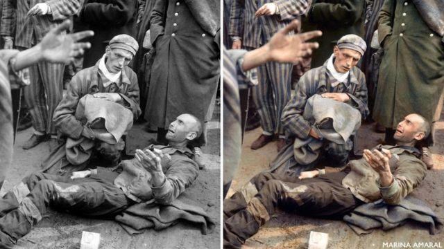 Comparación entre la imagen original de un campo de concentración de Wöbbelin, Alemania, y el trabajo de Marina.