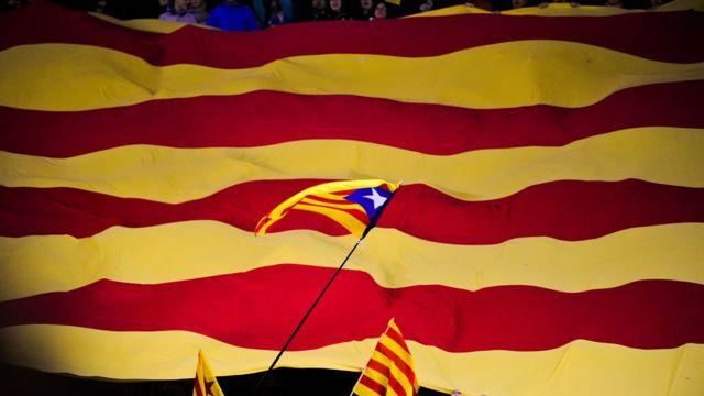 Banderas en el estadio Camp Nou.