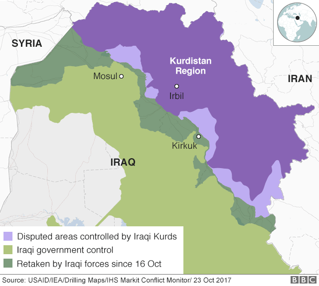 Map showing control of northern Iraq and Kurdistan Region (23 October 2017)