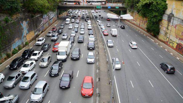 Un atasco de tráfico en Brasil.