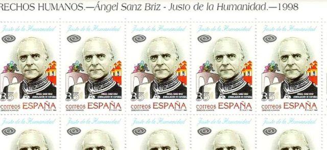 Sellos en conmemoración de Ángel Sanz Briz.
