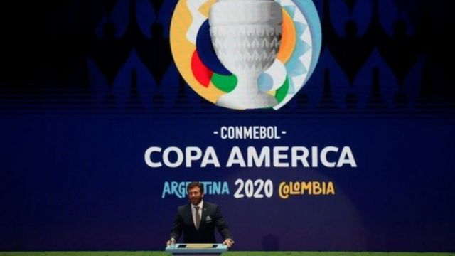 Presidente da Conmebol, Alejandro Domínguez, durante evento
