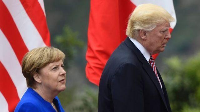 Ангела Меркель и Дональд Трамп во время саммита G7 на Сицилии