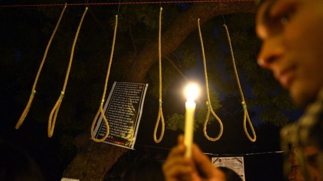 Death penalty protester