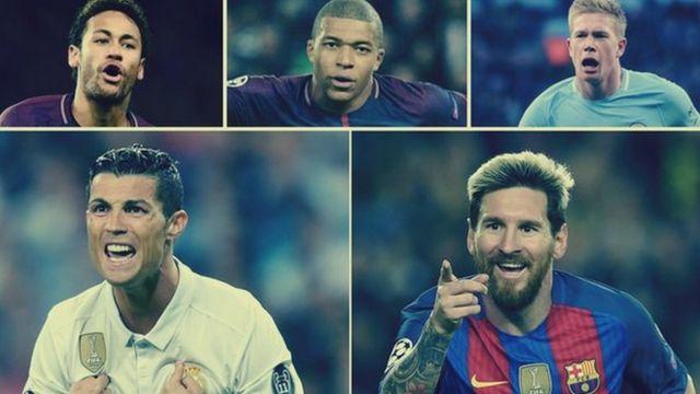 Neymar, Kylian Mbappe, Kevin de Bruyne, Cristiano Ronaldo na Lionel Messi