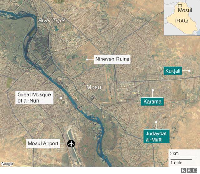 モスル付近の地図