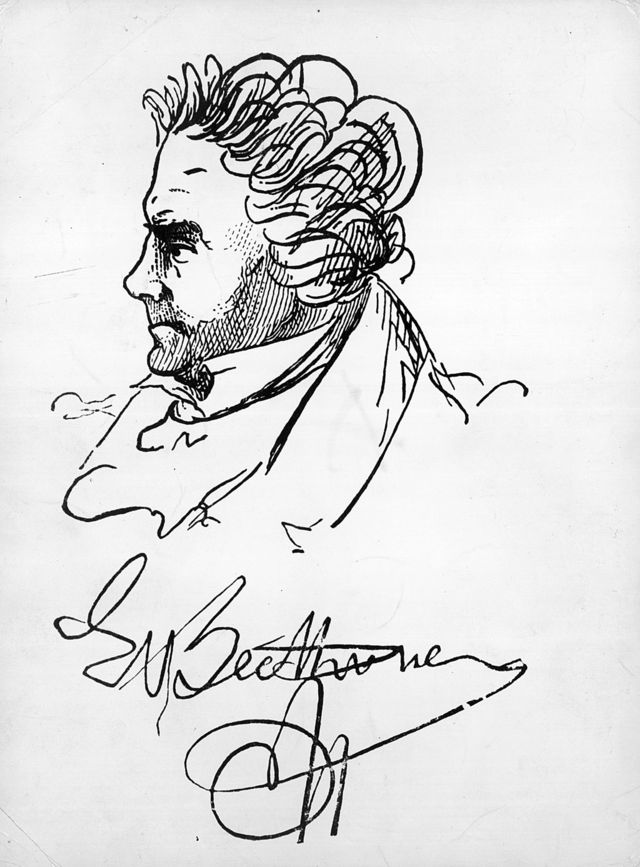 Un retrato autografiado del compositor alemán Ludwig van Beethoven (1770-1827).