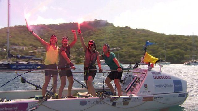 The rowers arriving in Antigua