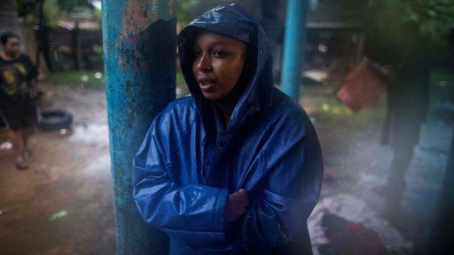 Mujer en refugio en Nicaragua