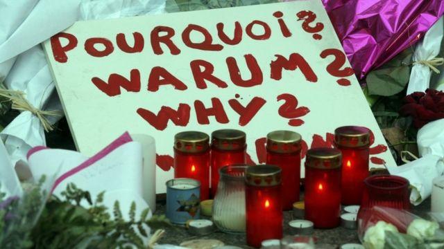 Tributes at Place de la Republique near some of the attack sites - 16 November