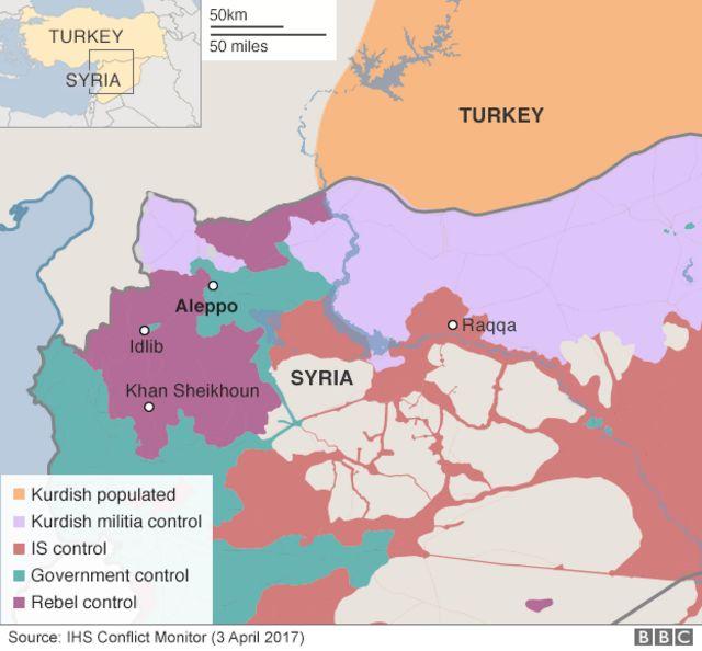 先月3日時点での各勢力の支配地域(薄紫:クルド人組織、オレンジ:IS、緑:シリア政府、紫:反政府組織)