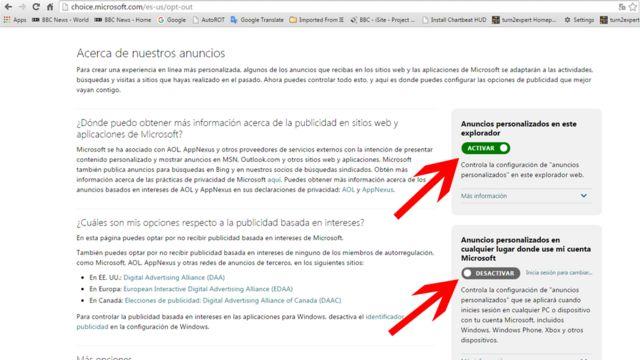 La página de Microsoft para desactivar los avisos