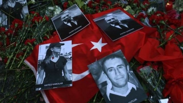Tributes to the some of the Turkish victims of the attack in Istanbul