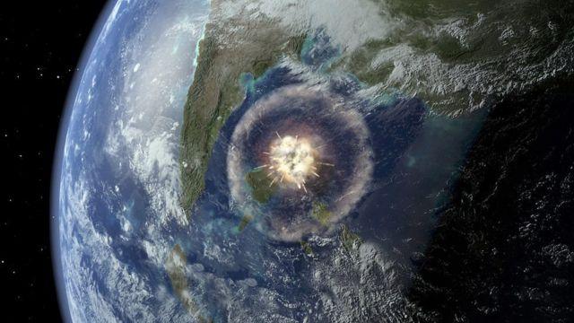 удар метеорита (иллюстрация)