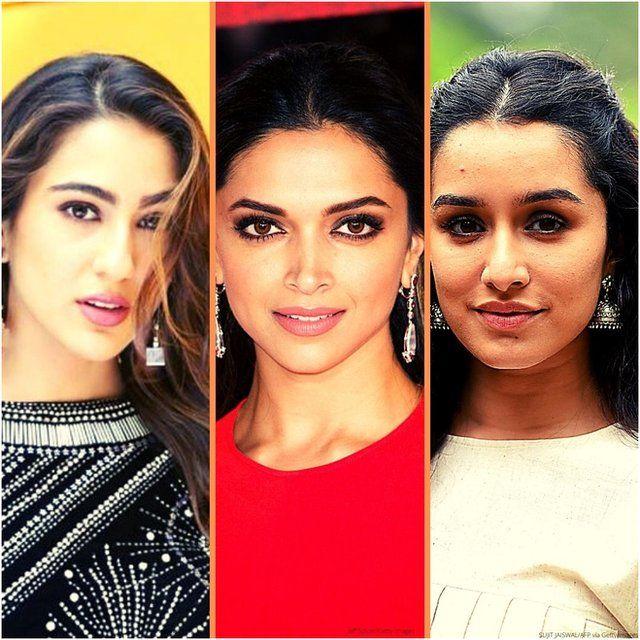 நடிகை சாரா அலிகான், தீபிகா படுகோனே மற்றும் ஷ்ரத்தா கபூர்