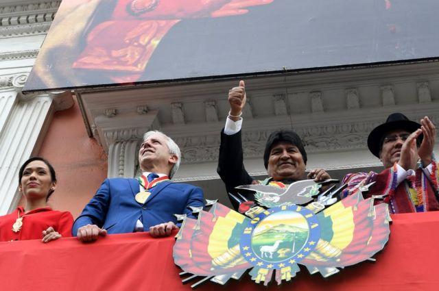 Evo y autoridades de Bolivia