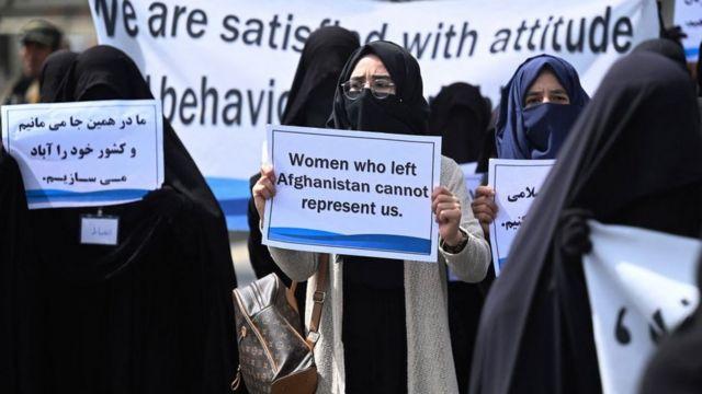 Phụ nữ Hồi giáo trong một cuộc diễu hành ủng hộ Taliban hôm 11/9/2021