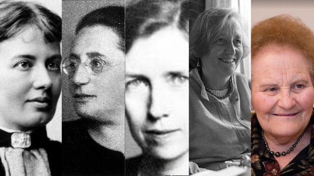 Sofya Kovalevskaya (Foto: dominio público), Emmy Noether (Foto: Ullstein bild/ullstein bild via Getty), Mary Cartwright (Foto: LONDON MATHEMATICAL SOCIETY), Cathleen S. Morawetz (Foto: ©Orling Photo Bureau NYU) y Marina Ratner (Foto: Lenya Ryzhik)